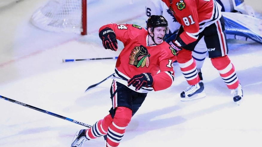 Chicago Blackhawks left wing Richard Panik (14) celebrates his goal during the third period of an NHL hockey game against the Toronto Maple Leafs, Saturday, Oct. 22, 2016, in Chicago. (AP Photo/Jeff Haynes)