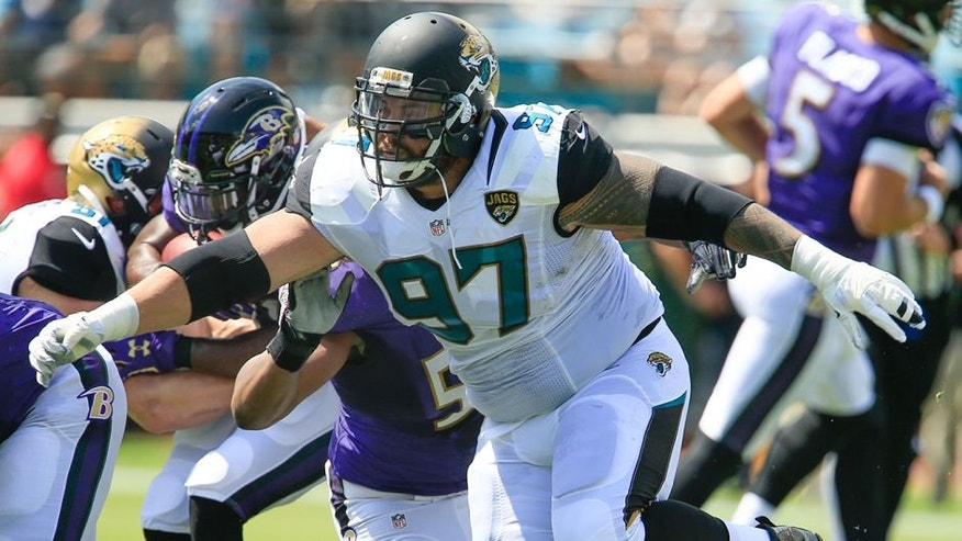 Sep 25, 2016; Jacksonville, FL, USA; Jacksonville Jaguars defensive tackle Roy Miller (97) protects the line during the first quarter of a football game against the Baltimore Ravens at EverBank Field. Mandatory Credit: Reinhold Matay-USA TODAY Sports