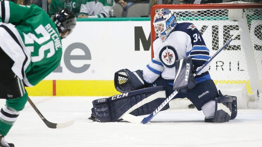 Dallas Stars right wing Brett Ritchie (25) shoots the puck past Winnipeg Jets goalie Michael Hutchinson (34) scoring a goal during the first period of an NHL hockey game Tuesday, Oct. 25, 2016, in Dallas. (AP Photo/LM Otero)