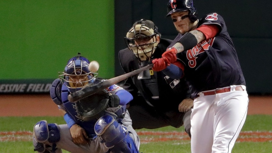Oct. 25, 2016: Cleveland Indians' Roberto Perez hits a three-run home run against the Chicago Cubs during the eighth inning of Game 1 of the World Series