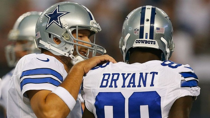 <enter caption here> of their preseason game at AT&T Stadium on August 16, 2014 in Arlington, Texas.