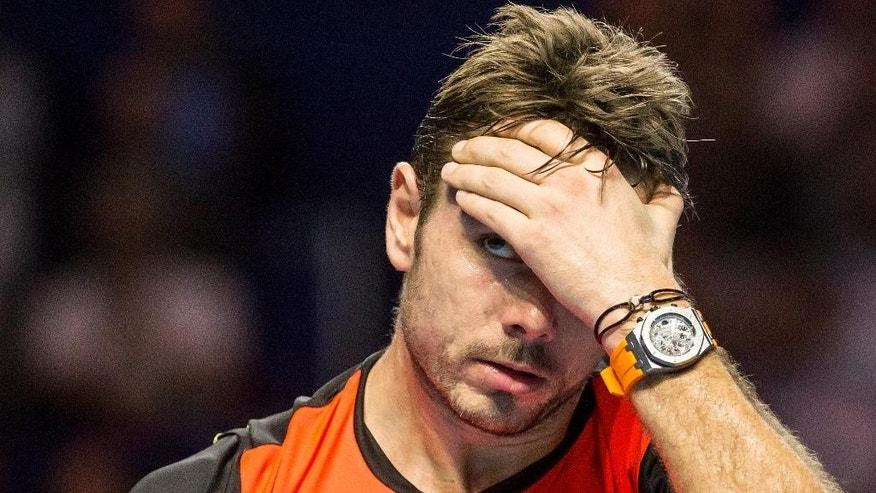 Switzerland's Stan Wawrinka during his match against Germany's Alexander Zverev, during their quarter final tennis match at the Swiss Indoors tennis tournament in Basel, Switzerland, on Friday, Oct. 28, 2016. (Alexandra Wey/Keystone via AP)