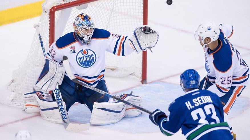 Edmonton Oilers goalie Cam Talbot, left, stops Vancouver Canucks' Henrik Sedin, bottom right, of Sweden, as Oilers' Darnell Nurse (25) defends during the third period of an NHL hockey game Friday, Oct. 28, 2016, in Vancouver, British Columbia. (Darryl Dyck/The Canadian Press via AP)