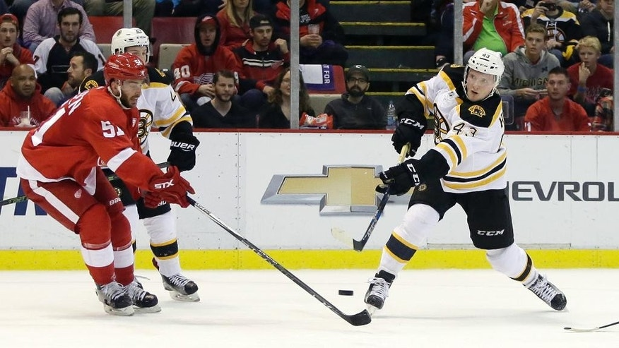 Boston Bruins center Danton Heinen (43) shoots on goal against Detroit Red Wings center Frans Nielsen (51), of Denmark, during the first period of an NHL hockey game Saturday, Oct. 29, 2016, in Detroit. (AP Photo/Duane Burleson)