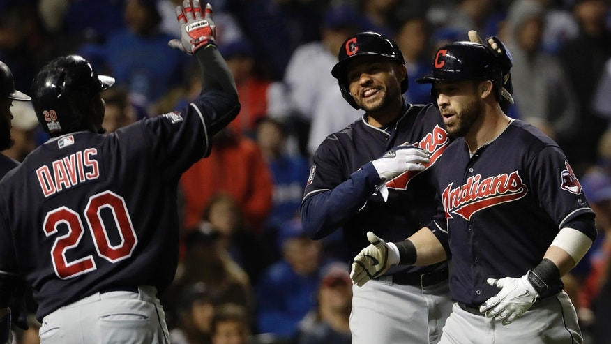 Oct. 29, 2016: Cleveland Indians' Jason Kipnis celebrates after hitting a three-run home run during the seventh inning of Game 4 of the World Series against the Chicago Cubs
