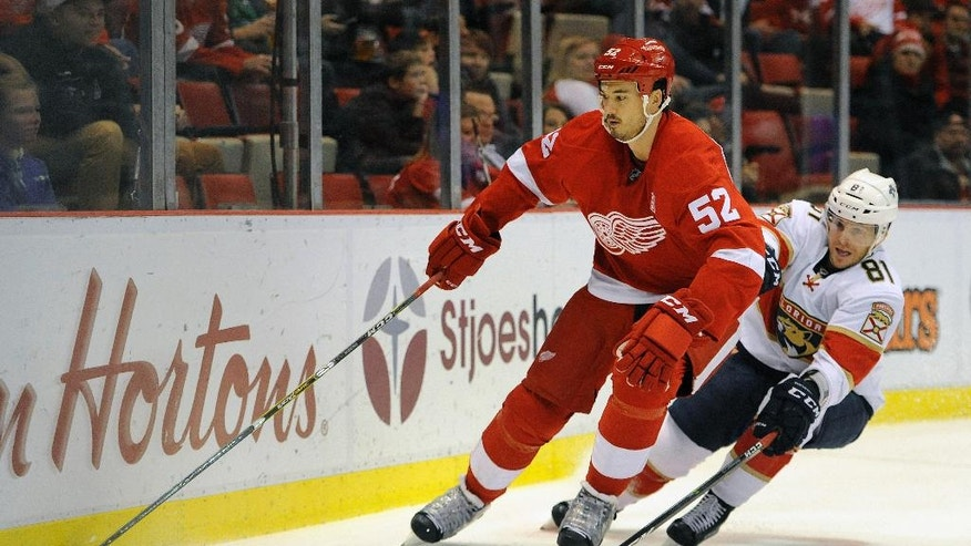 Detroit Red Wings defenseman Jonathan Ericsson (52) of Sweden skates against Florida Panthers center Jonathan Marchessault (81) in the first period of an NHL hockey game in Detroit, Sunday, Oct. 30, 2016. (AP Photo/Jose Juarez)