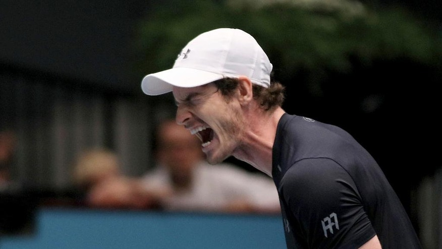 Andy Murray of Great Britain reacts during the final match against Jo-Wilfried Tsonga of France at the Erste Bank Open tennis tournament in Vienna, Austria, Sunday, Oct. 30, 2016. (AP Photo/Ronald Zak)