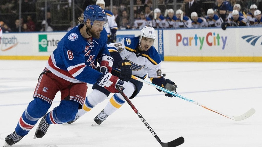 CORRECTS SCORE TO 5-0, NOT 5-1 - New York Rangers defenseman Kevin Klein (8) controls the puck against St. Louis Blues right wing Nail Yakupov (64) during the third period of an NHL hockey game, Tuesday, Nov. 1, 2016, at Madison Square Garden in New York. The Rangers won 5-0. (AP Photo/Mary Altaffer)