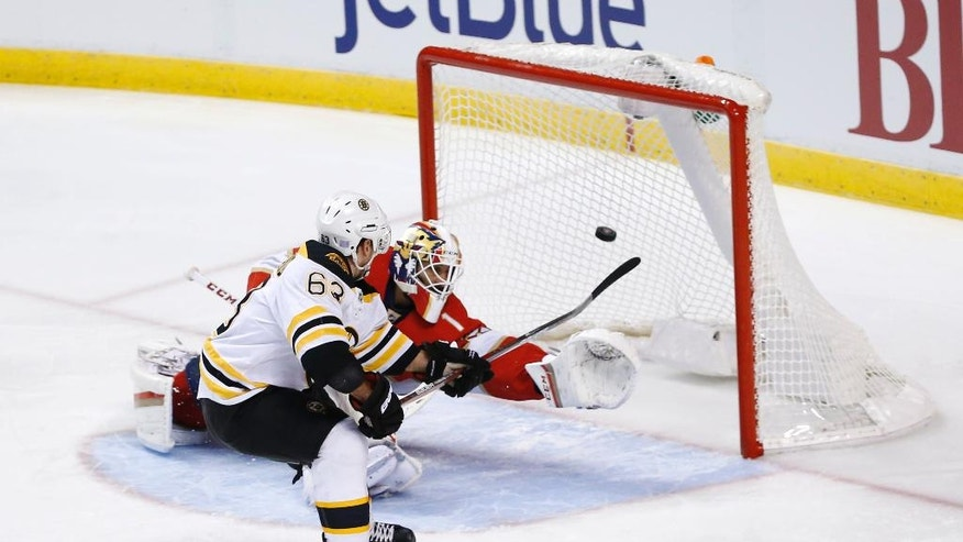 Boston Bruins left wing Brad Marchand (63) gets the puck past Florida Panthers goalie Roberto Luongo (1) during a penalty shot in the first period of an NHL hockey game, Tuesday, Nov. 1, 2016, in Sunrise, Fla. (AP Photo/Wilfredo Lee)