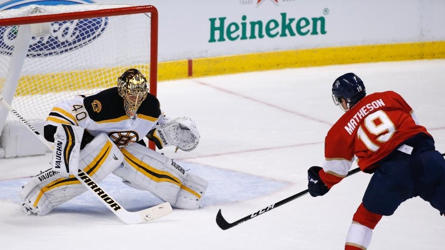 Florida Panthers defenseman Michael Matheson (19) attempts a shot as Boston Bruins goalie Tuukka Rask (40) defends during the first period of an NHL hockey game, Tuesday, Nov. 1, 2016, in Sunrise, Fla. (AP Photo/Wilfredo Lee)