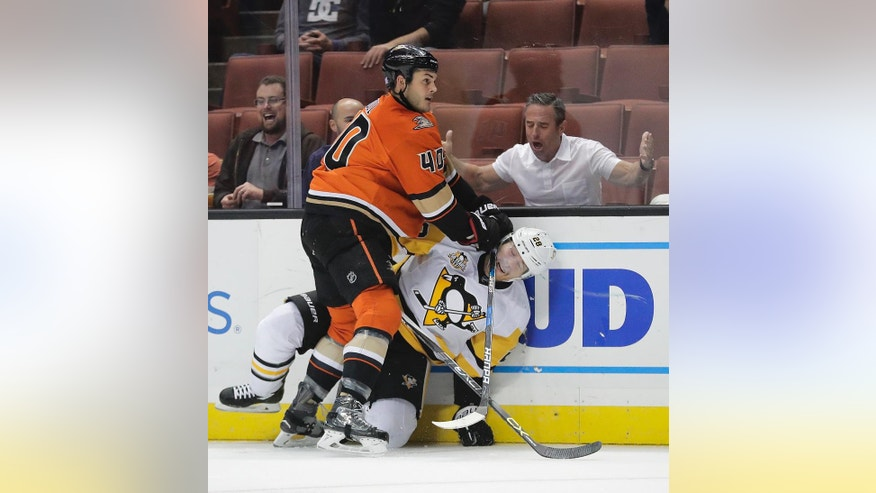 A fan reacts as Anaheim Ducks' Jared Boll, top, shoves Pittsburgh Penguins' Ian Cole during the first period of an NHL hockey game Wednesday, Nov. 2, 2016, in Anaheim, Calif. (AP Photo/Jae C. Hong)