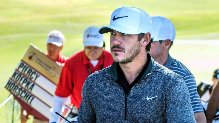 Brooks Koepka walks off the course on the opening day of the Shriners Hospitals for Children Open golf tournament in Las Vegas, Thursday, Nov. 3, 2016. (Jeff Scheid/Las Vegas Review-Journal via AP)