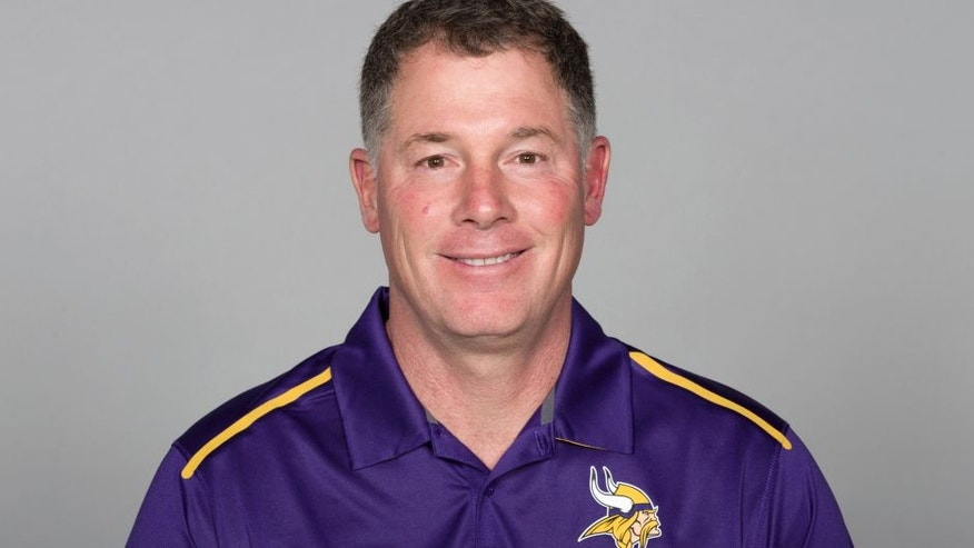FILE - This is a 2016 file photo showing Pat Shurmur of the Minnesota Vikings NFL football team. Vikings offensive coordinator Norv Turner has resigned. He's been replaced on an interim basis by Pat Shurmur. The Vikings announced the news on Wednesday, Nov. 2, 2016, two days after their second consecutive defeat. (AP Photo)