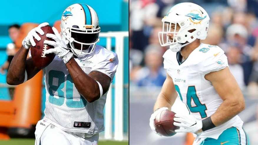 <p>Miami Dolphins tight ends Dion Sims (left) and Jordan Cameron (right).<br> </p>