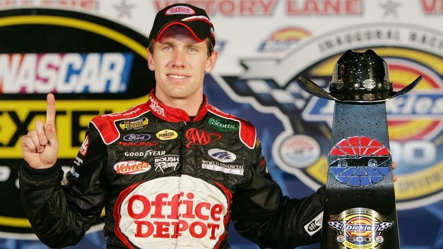 Nov 06, 2005; Justin, TX, USA; CARL EDWARDS wins the Dickies 500 Nextel Cup series race at Texas Motor Speedway. (Photo by Harold Hinson/Sporting News via Getty Images)