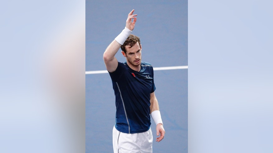 Britain's Andy Murray celebrates after defeating Tomas Berdych of Czech Republic during the quarterfinal match of the Paris Masters tennis tournament at the Bercy Arena, in Paris, Friday, Nov. 4, 2016. (AP Photo/Christophe Ena)