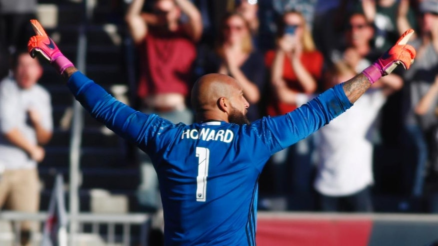 Colorado Rapids goalkeeper Tim Howard celebrates after stopping Los Angeles Galaxy defender Jeff Larentowicz's shootout kick in the second leg soccer match of the Western Conference semifinals of the MLS cup playoffs in Commerce City, Colo., on Sunday, Nov. 6, 2016. Colorado won 1-0 and advances to the next round of the playoffs. (AP Photo/David Zalubowski)