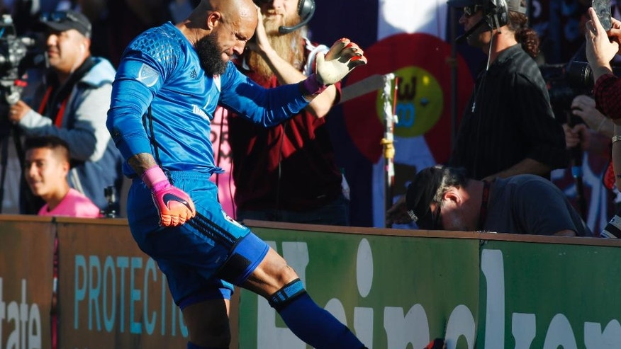 Colorado Rapids goalkeeper Tim Howard kicks the end boards after stopping a shot by Los Angeles Galaxy defender Ashley Cole in the second leg soccer match of the Western Conference semifinals of the MLS cup playoffs in Commerce City, Colo., on Sunday, Nov. 6, 2016. Colorado won 1-0 and advances to the next round of the playoffs. (AP Photo/David Zalubowski)