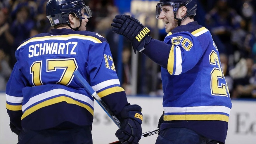 St. Louis Blues' Alexander Steen (20) is congratulated by Jaden Schwartz after scoring during the second period of an NHL hockey game against the Colorado Avalanche, Sunday, Nov. 6, 2016, in St. Louis. Schwartz was credited with the goal. (AP Photo/Jeff Roberson)