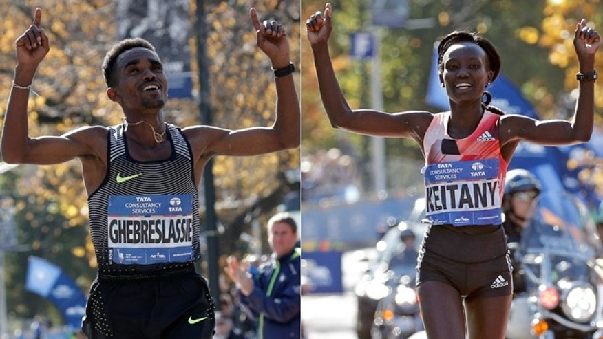 Ghirmay Ghebreslassie, left, and Mary Keitany.