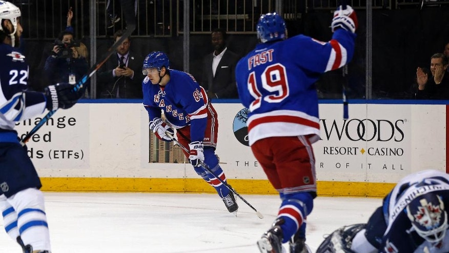 New York Rangers right wing Pavel Buchnevich (89) celebrates scoring a goal past Winnipeg Jets goalie Michael Hutchinson (34) with Rangers right wing Jesper Fast (19) in the second period of an NHL hockey game, Sunday, Nov. 6, 2016, in New York. (AP Photo/Adam Hunger)