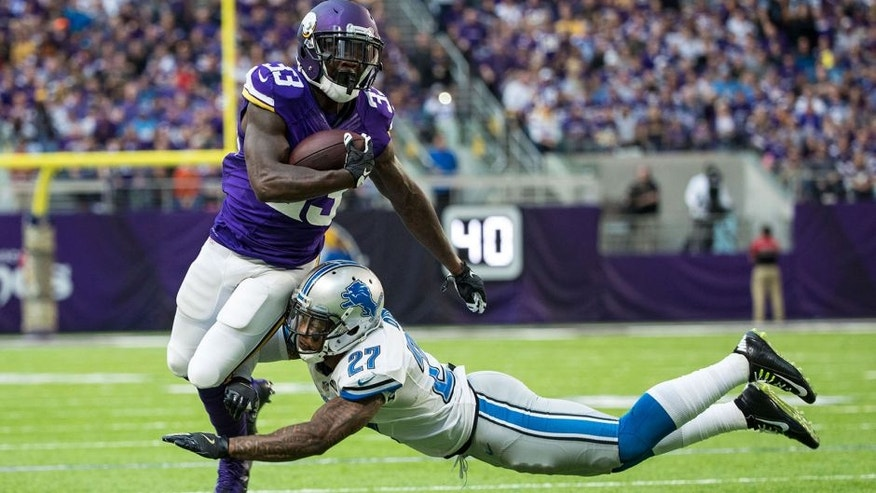<p>Nov 6, 2016; Minneapolis, MN, USA; Minnesota Vikings running back Ronnie Hillman (33) is tackled by Detroit Lions safety Glover Quin (27) during the fourth quarter at U.S. Bank Stadium. The Lions defeated the Vikings 22-16. Mandatory Credit: Brace Hemmelgarn-USA TODAY Sports</p>