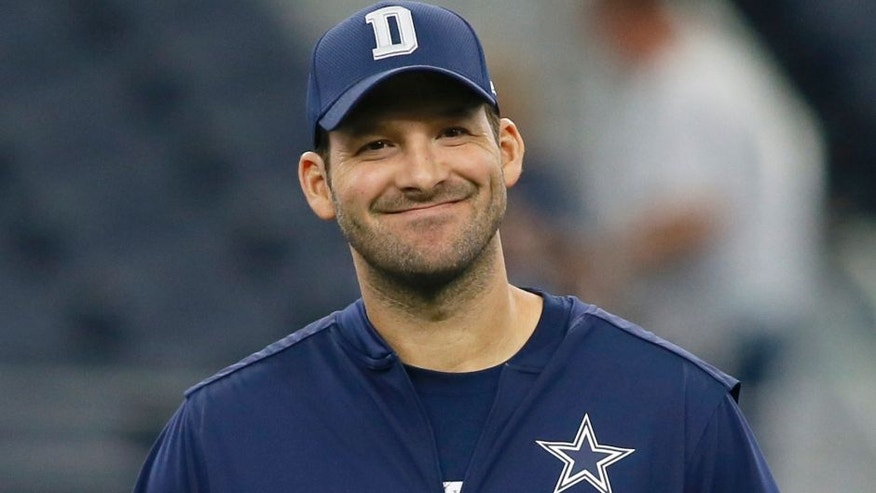 Oct 9, 2016; Arlington, TX, USA; Dallas Cowboys quarterback Tony Romo (9) looks on from the field before the game against the Cincinnati Bengals at AT&T Stadium. Mandatory Credit: Tim Heitman-USA TODAY Sports