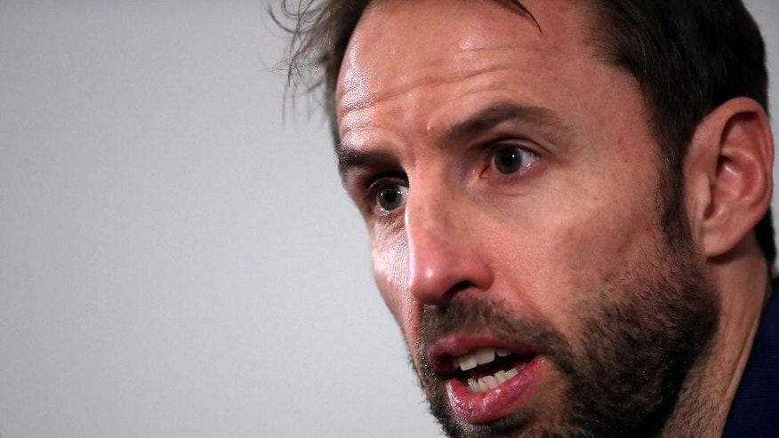 England soccer team  interim manager Gareth Southgate  speaks during the press conference at the England training facility at St George's Park, Burton central England Thursday Nov. 10, 2016 . England will play Scotland in a World Cup qualifying match at Wembley Stadium on Friday (Nick Potts/PA via AP)