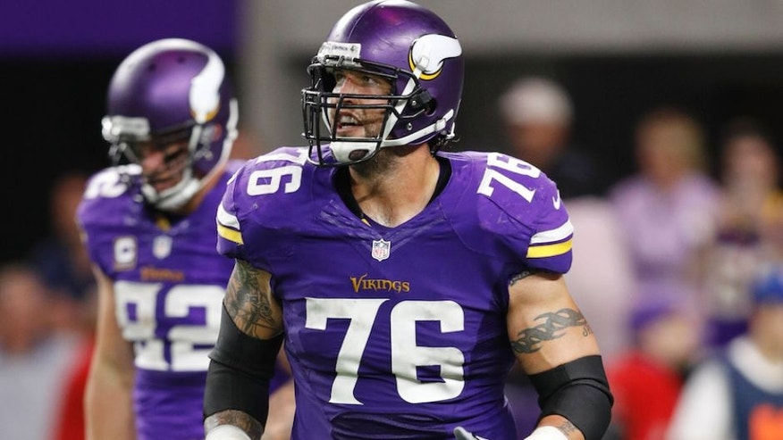 MINNEAPOLIS, MN - OCTOBER 03: Alex Boone #76 of the Minnesota Vikings looks on against the New York Giants during the game at U.S. Bank Stadium on October 3, 2016 in Minneapolis, Minnesota. The Vikings defeated the Giants 24-10. (Photo by Joe Robbins/Getty Images)