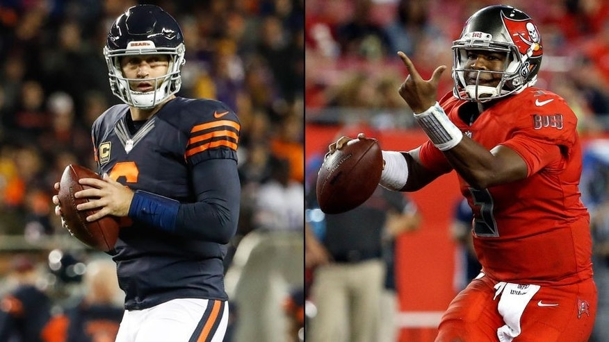 <p>Chicago Bears quarterback Jay Cutler (left) and Tampa Bay Buccaneers quarterback Jameis Winston (right).<br> </p>