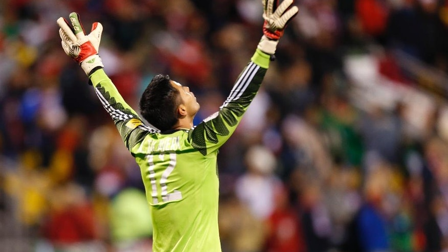 Mexico's Alfredo Talavera celebrates a goal against the United States during the first half of a World Cup qualifying soccer match Friday, Nov. 11, 2016, in Columbus, Ohio. (AP Photo/Jay LaPrete)
