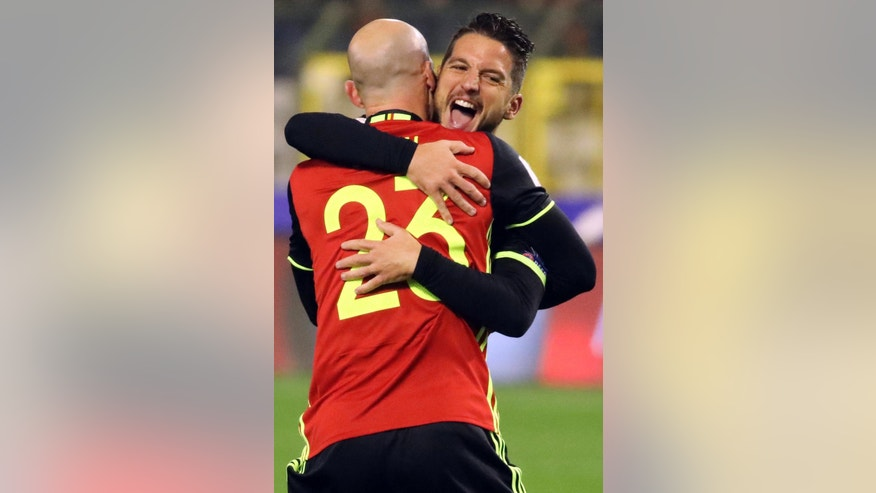 Belgium's Dries Mertens scores against Estonia during the World Cup Group H qualifying soccer match between Belgium and Estonia,  at the King Baudouin Stadium in Brussels on Sunday, Nov. 13, 2016. (AP Photo/Olivier Matthys)