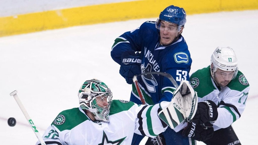 Dallas Stars centre Devin Shore (17) tries to stop Vancouver Canucks center Bo Horvat (53) from getting a shot on Dallas Stars goalie Kari Lehtonen (32) during the third period of an NHL hockey game in Vancouver, British Columbia, Sunday, Nov. 13, 2016. (Jonathan Hayward/The Canadian Press via AP)