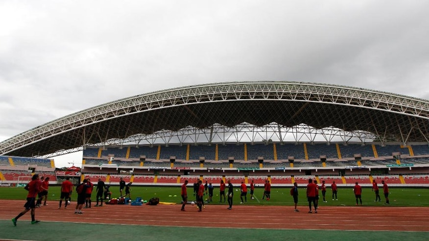 United States' players train at the National Stadium, in San Jose, Costa Rica, Monday, Nov. 14, 2016. United States will face Costa Rica for 2018 World Cup qualifying soccer match Tuesday. (AP Photo/Moises Castillo)