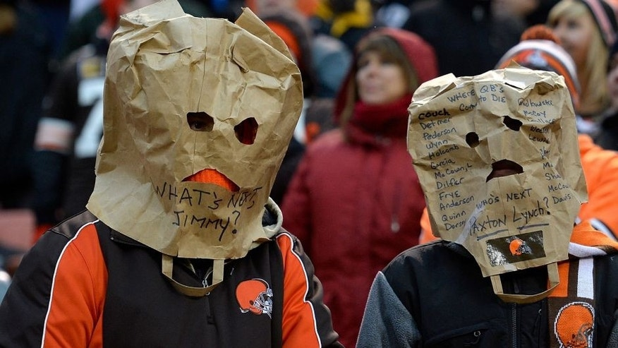 CLEVELAND, OH - JANUARY 3: Cleveland Browns fans look on during the fourth quarter against the Pittsburgh Steelers at FirstEnergy Stadium on January 3, 2016 in Cleveland, Ohio. Pittsburgh won the game 28-12. (Photo by Jason Miller/Getty Images)