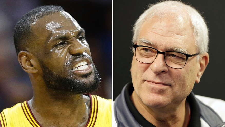FILE - At left, in a May 12, 2015, file photo, Cleveland Cavaliers forward LeBron James reacts during the first half of Game 5 in a second-round NBA basketball playoff series against the Chicago Bulls, in Cleveland. At right, in a Feb. 8, 2016, file photo, New York Knicks president Phil Jackson speaks to reporters during a news conference in Greenburgh, N.Y.