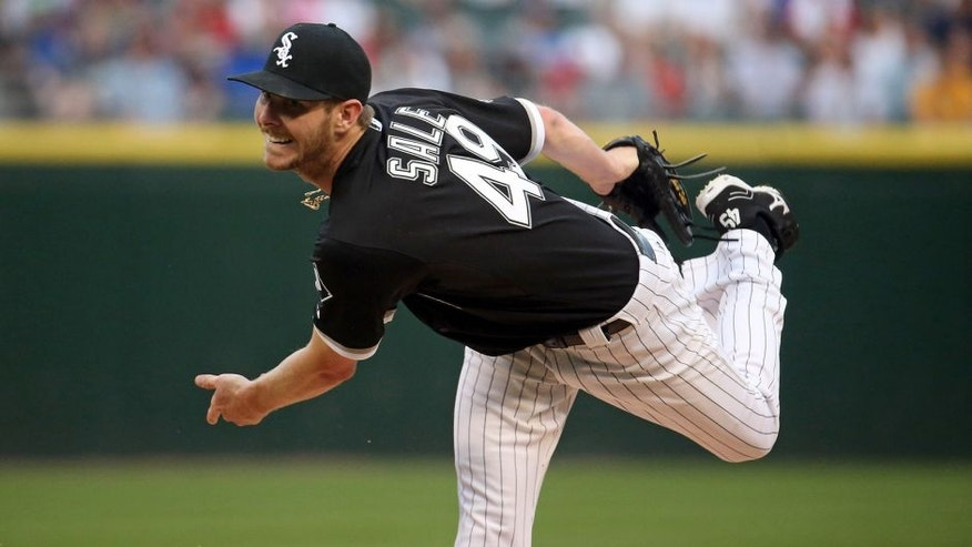 Chicago White Sox starting pitcher Chris Sale (49) delivers to the Toronto Blue Jays during the first inning on Monday, July 6, 2015, at U.S. Cellular Field in Chicago. (Brian Cassella/Chicago Tribune/TNS via Getty Images)