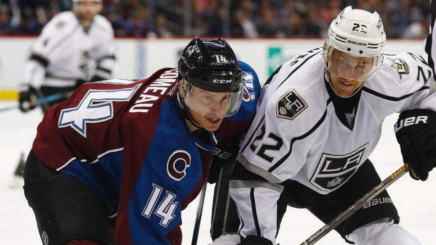Colorado Avalanche left wing Blake Comeau, left, fights for position with Los Angeles Kings center Trevor Lewis in the second period of an NHL hockey game Tuesday, Nov. 15, 2016, in Denver. (AP Photo/David Zalubowski)