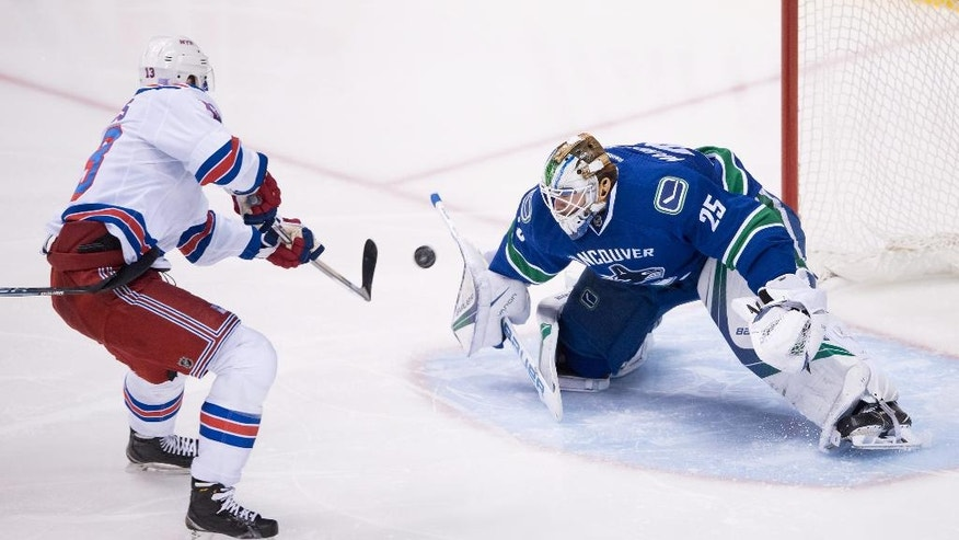 New York Rangers' Kevin Hayes, left, scores against Vancouver Canucks goalie Jacob Markstrom, of Sweden, during the third period of an NHL hockey game Tuesday, Nov. 15, 2016, in Vancouver, British Columbia. (Darryl Dyck/The Canadian Press via AP)