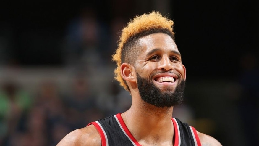 MEMPHIS, TN - NOVEMBER 6: Allen Crabbe #23 of the Portland Trail Blazers reacts to a play against the Memphis Grizzlies during the game on November 6, 2016 at FedExForum in Memphis, Tennessee. NOTE TO USER: User expressly acknowledges and agrees that, by downloading and or using this photograph, User is consenting to the terms and conditions of the Getty Images License Agreement. Mandatory Copyright Notice: Copyright 2016 NBAE (Photo by Joe Murphy/NBAE via Getty Images)