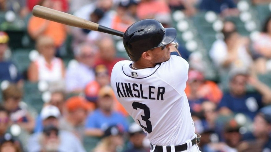 DETROIT, MI - SEPTEMBER 15: Ian Kinsler #3 of the Detroit Tigers bats during the game against the Minnesota Twins at Comerica Park on September 15, 2016 in Detroit, Michigan. The Twins defeated the Tigers 5-1. (Photo by Mark Cunningham/MLB Photos via Getty Images)