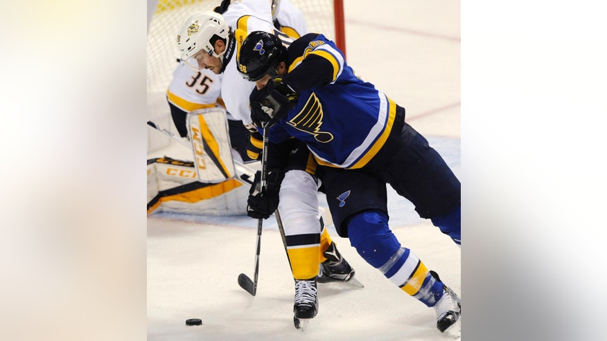 Nashville Predators' Roman Josi, left, of Switzerland, and St. Louis Blues' Kyle Brodziak (28) compete for the puck during the first period of an NHL hockey game, Nov. 19, 2016, in St. Louis. (AP Photo/Bill Boyce)
