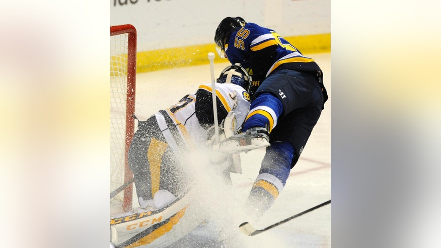 Nashville Predators goalie Pekka Rinna (35), of Finland, blocks a shot by St. Louis Blues' Colton Parayko (55) during the first period of an NHL hockey game, Saturday, Nov. 19, 2016, in St. Louis. (AP Photo/Bill Boyce)
