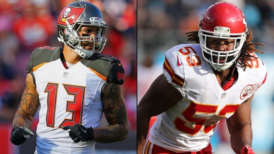 <p>Tampa Bay Buccaneers wide receiver Mike Evans (left) and Kansas City Chiefs inside linebacker Ramik Wilson (right).<br> </p>