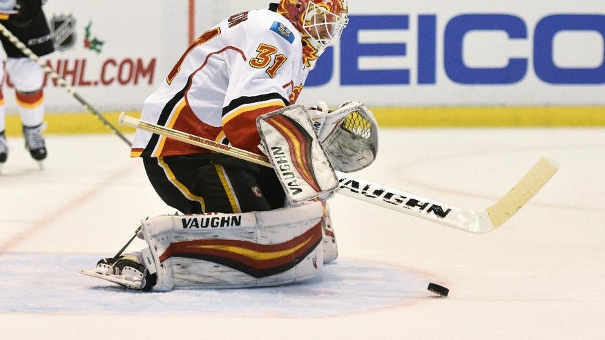 Calgary Flames goalie Chad Johnson (31) blocks a shot against the Detroit Red Wings during the second period of an NHL hockey game in Detroit, Sunday, Nov. 20, 2016. (AP Photo/Jose Juarez)