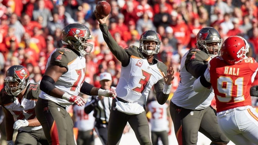 Nov 20, 2016; Kansas City, MO, USA; Tampa Bay Buccaneers quarterback Jameis Winston (3) throws a pass in the first half against the Kansas City Chiefs at Arrowhead Stadium. Mandatory Credit: Gary Rohman-USA TODAY Sports