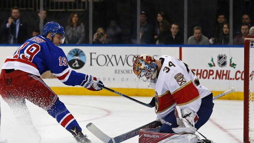 New York Rangers right wing Jesper Fast (19) has his shot stopped by Florida Panthers goalie James Reimer (34) in the second period of an NHL hockey game Sunday, Nov. 20, 2016, in New York. (AP Photo/Adam Hunger)