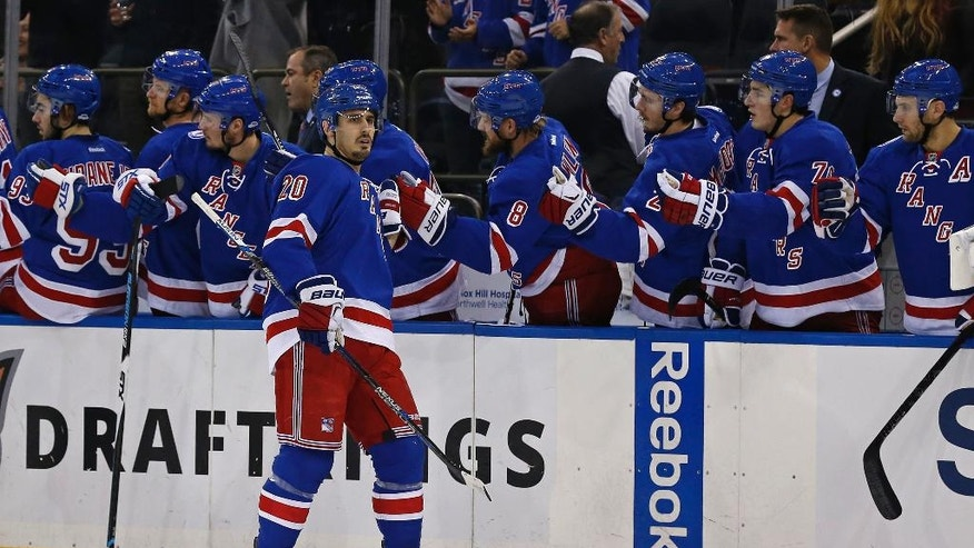 New York Rangers left wing Chris Kreider (20) celebrates with teammates after scoring a goal against the Florida Panthers in the first period of an NHL hockey game, Sunday, Nov. 20, 2016, in New York. (AP Photo/Adam Hunger)
