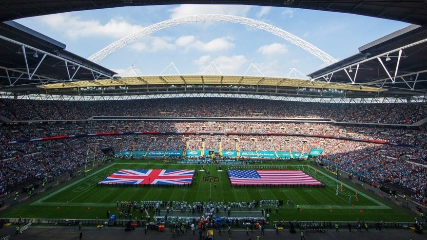LONDON, ENGLAND - OCTOBER 04: A general view prior to the game between Miami Dolphins and New York Jets at Wembley Stadium on October 4, 2015 in London, England. (Photo by Jed Leicester - NFL/Pool/Getty Images)