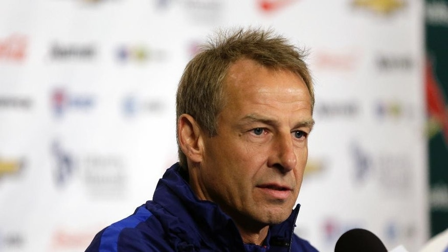 "FILE - This Nov. 12, 2015, file photo shows U.S. men's national soccer team coach Jurgen Klinsmann taking part in a news conference in St. Louis. Klinsmann is out as coach of the U.S. soccer team. U.S. Soccer Federation President Sunil Gulati announced Monday, Nov. 21, 2016, that Klinsmann has been ""relieved of his duties"" as coach and technical director for U.S. Soccer.  (AP Photo/Jeff Roberson, file)"